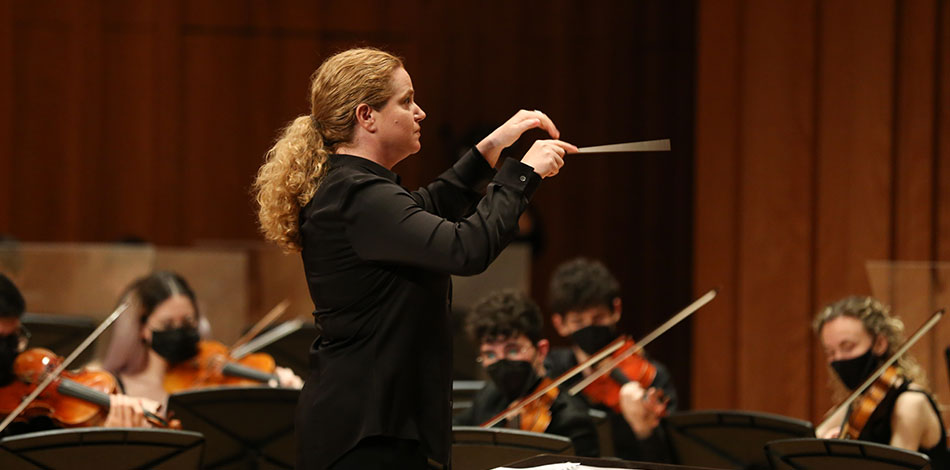 """Speranza Scappucci conducts the Liceu Conservatory Symphony Orchestra, within the framework of """"Futura"""", a conference on the role of Milan and Barcelona"""